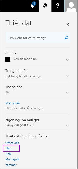 Ảnh chụp màn hình hiển thị ngăn thiết đặt với tùy chọn thư được tô sáng trong các phần thiết đặt ứng dụng của bạn.