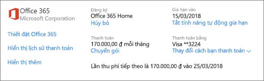 Trang Dịch vụ & đăng ký, hiển thị chi tiết đăng ký đối với đăng ký Office 365 Home.