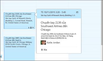 Ảnh chụp màn hình Outlook hiển thị thông tin chuyến bay.