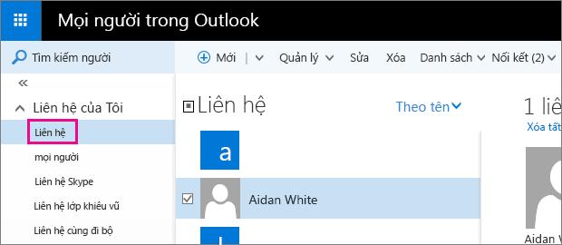 Ảnh chụp màn hình của trang Mọi người Outlook. Trong ngăn bên trái, Liên hệ của Tôi được bung rộng và thư mục Liên hệ xuất hiện bên dưới đó.