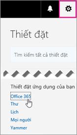 Chọn thiết đặt Office 365