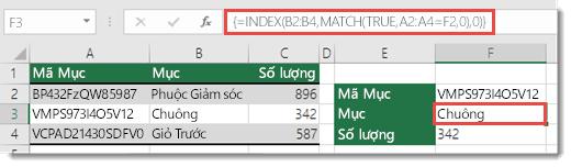 Sử dụng hàm INDEX và MATCH để tra cứu các giá trị có nhiều hơn 255 ký tự