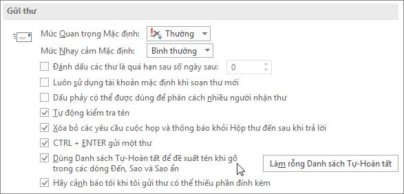 Chọn Tệp, Tùy chọn, Thư và bên dưới mục Gửi thư, xóa hộp kiểm Danh sách tự hoàn tất.