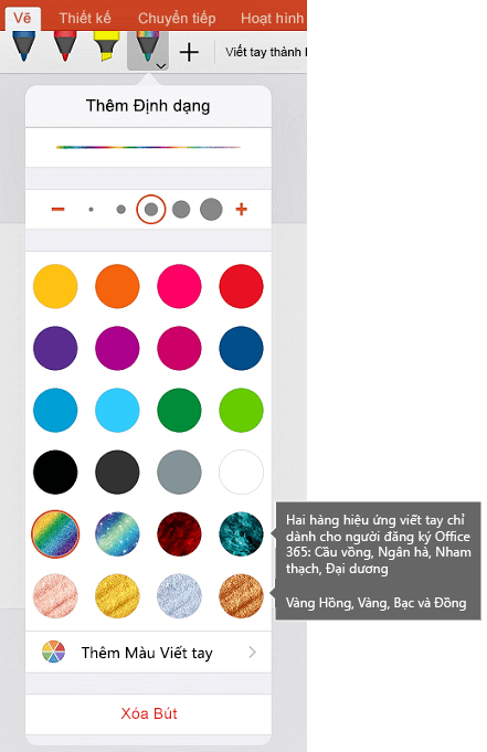 Màu viết tay và hiệu ứng để vẽ bằng chữ viết tay trong Office trên iOS