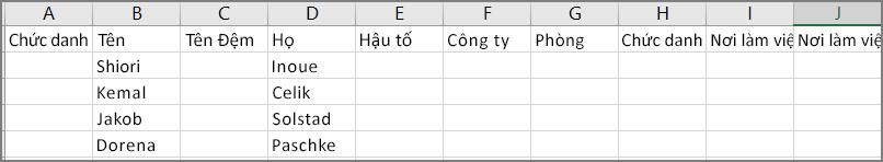 Ví dụ về giao diện của tệp csv sau khi xuất danh bạ từ Outlook