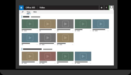Office 365 Video với nhiều video được tải lên