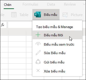 Tùy chọn chèn biểu mẫu mới trong Excel cho web