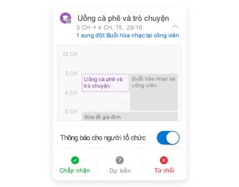 Lời mời cuộc họp với lịch nhỏ ở trên cùng, mục chú thích nằm ở giữa và các nút trả lời nằm ở dưới cùng