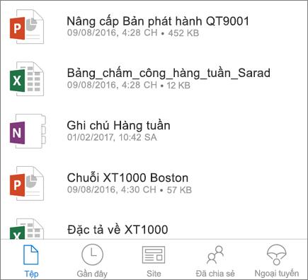 OneDrive trên thiết bị di động