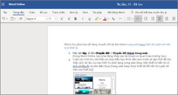 Một tài liệu có hình ảnh trong Word Online