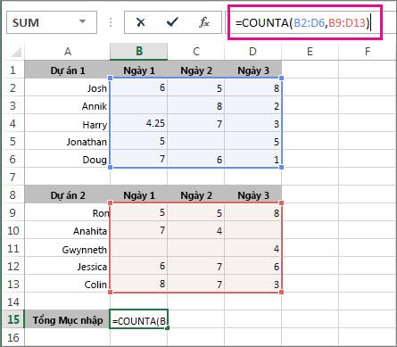 Sử dụng hàm COUNTA để đếm 2 phạm vi ô