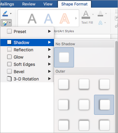 Các tùy chọn trên menu hiệu ứng hình dạng
