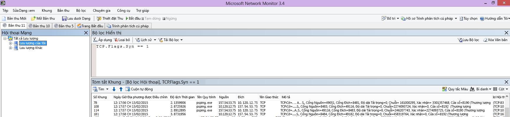 Quy trình dõi vết Netmon từ máy khách hiển thị lệnh PSPing giống hệt qua bộ lọc TCP.Flags.Syn == 1.