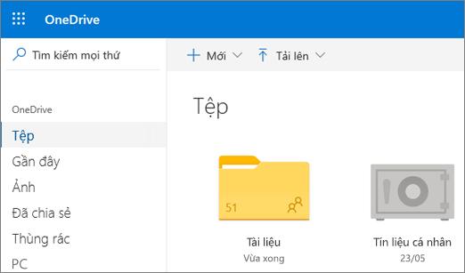 Ảnh chụp màn hình Tín liệu Cá nhân xuất hiện trong dạng xem Tệp trong OneDrive trên web
