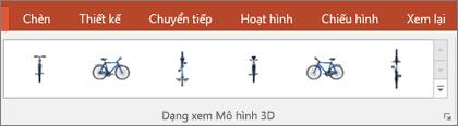 Bộ sưu tập Dạng xem Mô hình 3D cung cấp cho bạn một số thiết lập sẵn thuận tiện để sắp xếp cách hiển thị hình ảnh 3D của bạn