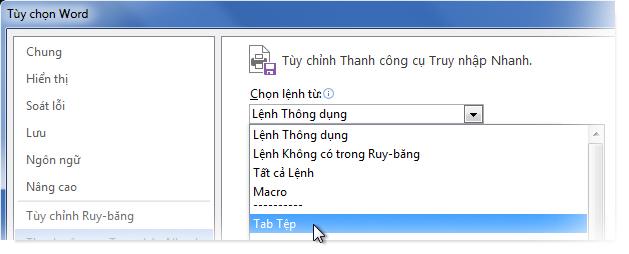 Tùy chỉnh Thanh công cụ Truy nhập Nhanh bằng cách thêm các lệnh trên tab Tệp