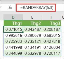 Hàm RANDARRAY trong Excel. RANDARRAY(5,3) trả về các giá trị ngẫu nhiên từ 0 đến 1 trong một mảng cao 5 hàng, rộng 3 cột.
