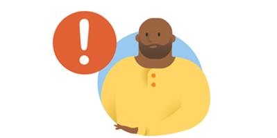 Hình minh họa đối với một người đàn ông bên cạnh dấu chấm than