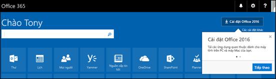 Hiện màn hình ngay khi bạn đăng nhập tại Office.com. Chọn Cài đặt Office (trên cùng bên phải màn hình) để cài đặt các ứng dụng như Word, Excel và PowerPoint lên máy tính của bạn.