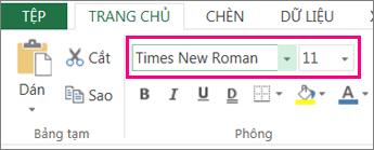các tùy chọn phông chữ trên Ribbon Excel