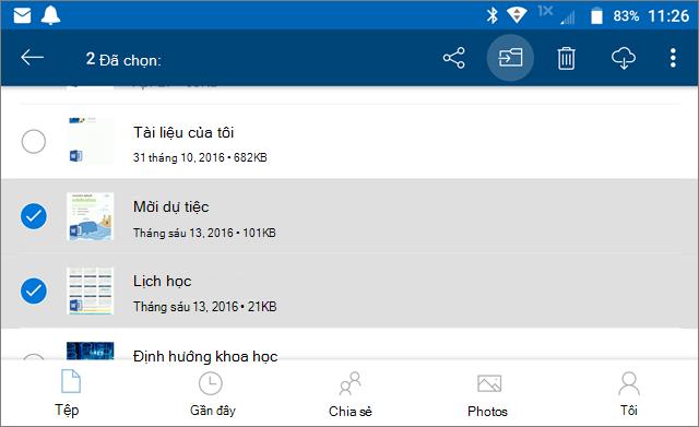 Di chuyển tệp trong OneDrive