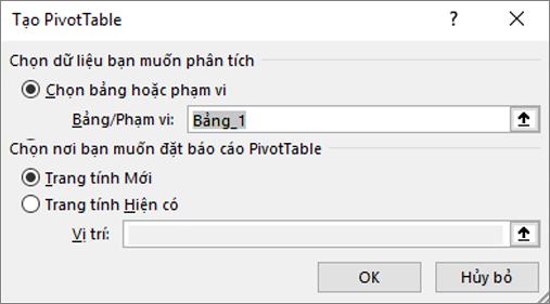 Tạo PivotTable