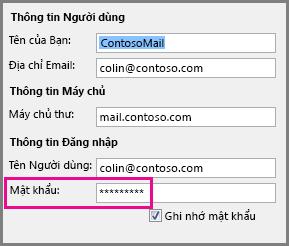 Thay đổi mật khẩu cho tài khoản POP3 hoặc IMAP