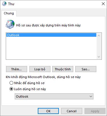 Bảng thuộc tính thư được dùng để thêm hoặc loại bỏ hồ sơ cho tài khoản Outlook của bạn