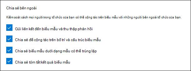 Thiết đặt quản trị Microsoft Forms để chia sẻ với bên ngoài