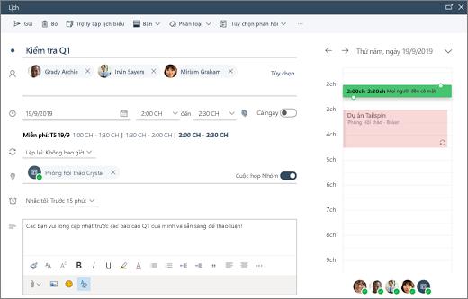 Lên lịch cuộc họp trong Outlook trên web