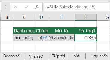 Công thức tham chiếu trang tính 3D Excel
