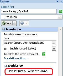 Hộp thoại Tùy chọn Dịch thuật