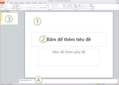 Không gian làm việc, hoặc dạng xem Thường, trong PowerPoint 2010 với bốn vùng có nhãn.
