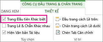 Hình ảnh hiển thị hộp kiểm 'trang đầu khác nhau' dưới Tùy chọn trong công cụ Đầu trang và Chân trang.