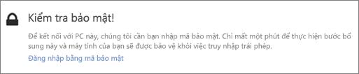 Mẫu thông báo giao diện người dùng về mã xác minh dành cho yêu cầu tải OneDrive