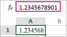 Số xuất hiện được làm tròn trên trang tính nhưng xuất hiện đầy đủ trong thanh công thức