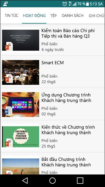 Chế độ xem trên thiết bị di động site nhóm SharePoint