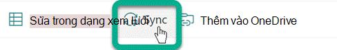 Nút Đồng bộ trên thanh công cụ trong thư SharePoint trang.