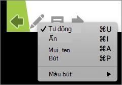 Ảnh chụp màn hình hiển thị các tùy chọn sẵn dùng cho con trỏ được dùng trong một trình chiếu. Tùy chọn là tự động, ẩn, mũi tên, bút và màu bút.