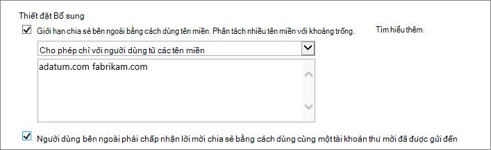 Các thiết đặt bổ sung cho cách giới hạn chia sẻ bên ngoài trong Office 365 SPO