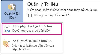 Office 2016 Khôi phục Tài liệu Chưa được Lưu