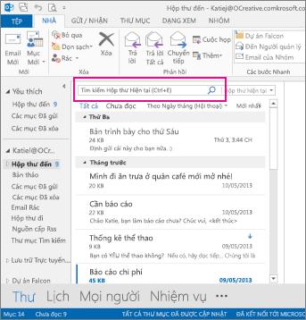 Hộp tìm kiếm nhanh phía trên email