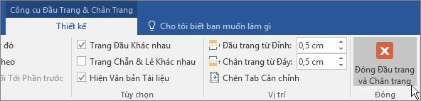 Tùy chọn Đóng đầu trang và chân trang được tô sáng trên tab Công cụ đầu trang và chân trang.