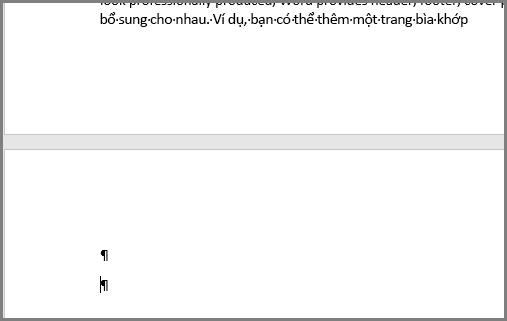 Các đoạn trống ở phía trên cùng của trang Word
