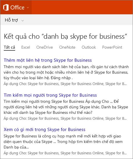 Ảnh chụp màn hình các kết quả tìm kiếm Danh bạ của Skype For Business trên site Hỗ trợ Office.
