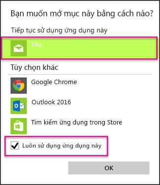 Chọn ứng dụng email bạn muốn sử dụng