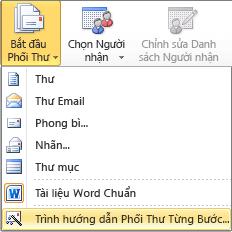 Trong Word, trên tab gửi thư, chọn bắt đầu phối thư, sau đó chọn hướng dẫn từng bước phối thư