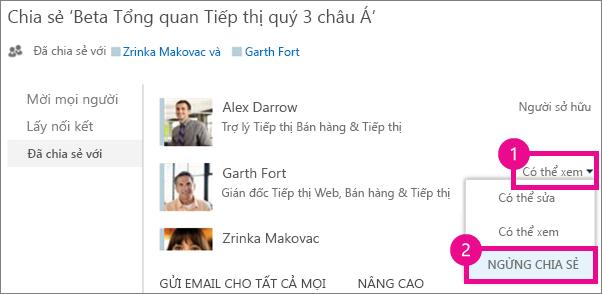 Lệnh Ngừng chia sẻ trên cửa sổ Chia sẻ trong OneDrive for Business
