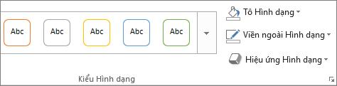 Kiểu trên tab Định dạng