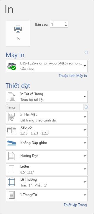 Ảnh chụp màn hình ngăn In kèm theo các cài đặt in khác nhau, chẳng hạn như số bản sao.